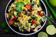 This vegan Southwestern pasta salad with avocado and black beans is not only super easy to make but also healthy! It's great for BBQs and potlucks!