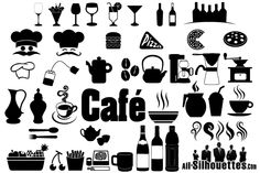 Cafe, Restaurant Icons  Symbols Free Vector