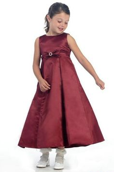Deep Red Bateay A Lien Bow Sash Perfect Design Girl Party Dresses
