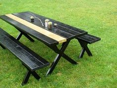 Thrifted Picnic Table in Black Gloss with Gold Stripe (by Abbey at Aesthetic Outburst)