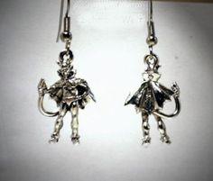Ohrringe Teufel Devil 3D Edelstahl Ohrhänger Metall Legierung Modeschmuck Damen Ohrschmuck Neuware
