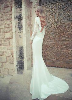 wedding dress and hair