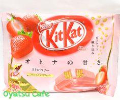 Strawberry Japanese Kit-Kat at Oyatsu Cafe! http://oyatsucafe.com/japanese-kit-kat-strawberry