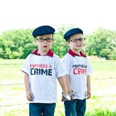 Partners In Crime - Funny Twin Onesies or Toddler Shirts by ShopTheIttyBitty, $34.00