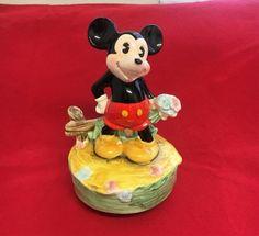 """Vintage Schmid Music Box Mickey Mouse Walt Disney Prod 6 3/4"""" It's A Small World #Schmid"""