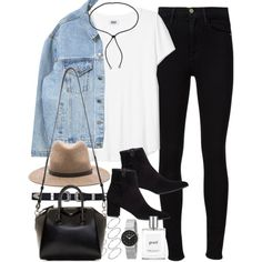 Outfit for a day out with a denim jacket and jeans by ferned on Polyvore featuring moda, Frame Denim, Stuart Weitzman, Givenchy, Skagen, Lanvin, ASOS, rag & bone and philosophy