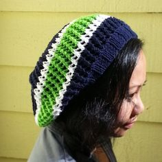 Are you looking for an original way to sport your team colors? Represent your team with this Hand Knit Mesh Slouchy Beanie. This breathable mesh
