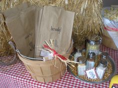 Popcorn bar for western BBQ party. Sugar, salt & pepper shakers are used for the seasonings with a cute label.