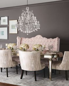 Haute House Tiffany Chair, Isabella Banquette, & Eliza Dining Table