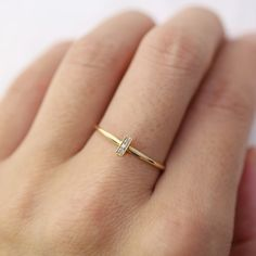 Pave diamond gold bar ring solid 14k yellow rose by EnveroJewelry