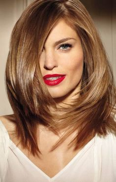 hairstyles for transition lengths | layered haircut for thick hair of medium length