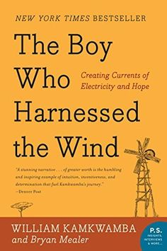 The Boy Who Harnessed the Wind: Creating Currents of Electricity and Hope (P.S.) by William Kamkwamba, http://www.amazon.com/dp/B002PEP4U0/ref=cm_sw_r_pi_dp_H7v-tb1JGXPJ0