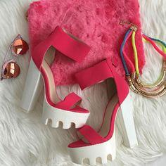 Neon Pink Lug Sole Heels