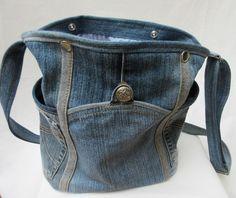 """Schultertaschen - Jeanstasche, Umhängetasche """"Kugeldistel"""" - ein Designerstück von Gasani bei DaWanda"""