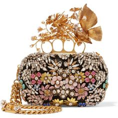 Alexander McQueen Knuckle embellished satin clutch, Women's ($5,710) ❤ liked on Polyvore featuring bags, handbags, clutches, evening handbags, brown handbags, evening purse, butterfly handbag and cocktail purse