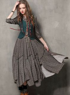 b37e2195c8b Vintage Embroidery Stand Collar Asymmetric Maxi Dress