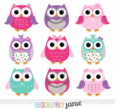 Girly Pink Purple Owls Digital Clipart - Clip Art