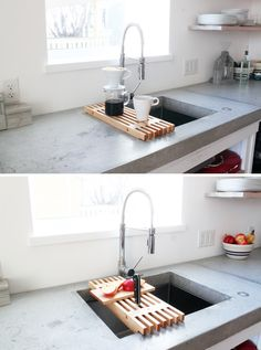 This dish rack was designed to slide across my sink and it can be modified so that it slides across your own! Check out the website for the full instructions and material list: http://www.homemade-modern.com/ep93-diy-dish-rack/