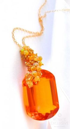 "Large Citrine and Ethiopian Opal Necklace ""Sunny Autumn"": NYC designer jewelry"