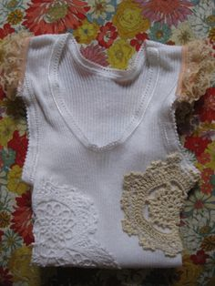 Baby Girls Singlet Tank Doily top  in White Size 00 by gingrheart, $19.95