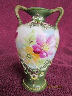 Old Nippon Moriage vase, two handles, hand-painted floral hues