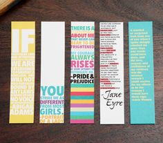 Chick Lit Bookmark Sets (Quotes from Pride & Prejudice, Jane Eyre & more)