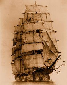 """""""Aussi étroit soit le chemin, Nombreux les châtiments infâmes, Je suis le maître de mon destin, Je suis le capitaine de mon âme.""""  (extrait de « Invictus » de William Ernest Henley) 'Barque Hougoumont' (Four Masted Bark Hougemont) 1920."""