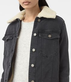 Womens Annie Denim Jacket (Washed Black) - product_image_alt_text_2