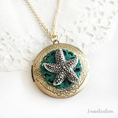 Starfish Locket Necklace Round Photo Locket by Jewelsalem on Etsy