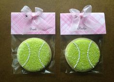 Tennis Ball Cookies Double Duty ~ place card and favor! Tennis Party, Tennis Gifts, Sports Party, Tennis Decorations, Cookie Party Favors, 10th Birthday Parties, Birthday Ideas, Tennis Tournaments, Tennis Clothes