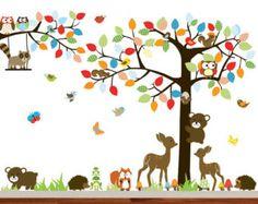 Vinyl Wall Decal Tree Set Nursery Wall Stickers por wallartdesign
