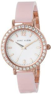 Anne Klein Women's AK/1442RGLP Ceramic Rose Gold Tone Pink Swarovski Elements Bangle Watch