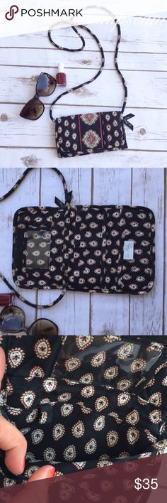 """Vera Bradley Wallet with Strap-Classic Black Small little cross body wallet purse. 8"""" wide by 5"""" long when closed. 12.5"""" long when opened. Strap is 51"""" long total. Has a spot for your ID, cards, coins, key rings to be attached and checkbook. Colors are black then blue cream and red on the paisley design. Vera Bradley Bags Crossbody Bags"""