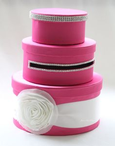 Pink round card box with bling!