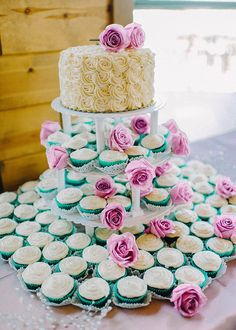 Beautiful cake and cupcake arrangement
