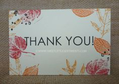 This rustic postcard style thank you card features various hand stamped leaves and clean, bold font. Custom made, premium quality wedding stationery!