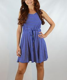 Look at this #zulilyfind! Blue Stripe Fit & Flare Dress - Women by OhConcept Collection #zulilyfinds