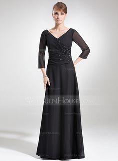 Mother of the Bride Dresses - $134.99 - A-Line/Princess V-neck Floor-Length Chiffon Mother of the Bride Dress With Ruffle Beading (008006180) http://jenjenhouse.com/A-Line-Princess-V-neck-Floor-Length-Chiffon-Mother-of-the-Bride-Dress-With-Ruffle-Beading-008006180-g6180/?utm_source=crtrem&utm_campaign=crtrem_US_20898