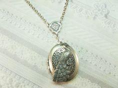Silver Scent Locket  Peacock Locket Necklace  Royal by birdzNbeez, $24.00