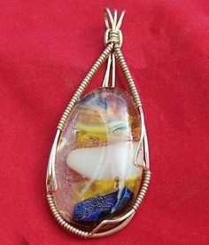 FREE S Pendant- Fantastic Fused & Dichroic Glass Wrapped in Gold-A JewelryArtistry Original-P150