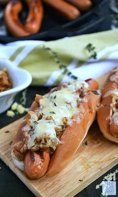 French Onion Hot Dogs | by Life Tastes Good are just like your favorite French Onion Soup, but in a handy bun and extra delicious because it's a hot dog!! #LTGRecipes