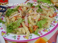 Cinco sentidos na cozinha: Salada fria de massa com paio e queijo