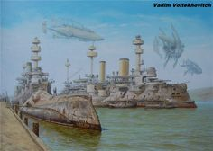 Punking The Past: The Steampunk Aesthetic Of Victorian London In Superb Paintings Of Vadim Voitekhovitch Diesel Punk, Steampunk Ship, Steampunk Fashion, Gothic Fashion, Arte Sci Fi, Sci Fi Art, Zeppelin, Concept Ships, Concept Art