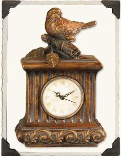 Time And Birds Fly Gilded Clock – Animal Planet Old Clocks, Antique Clocks, Antique Items, Cuckoo Clocks, Victorian Trading Company, Bird Statues, Faux Stone, Country Chic, Bird Feathers