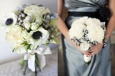 White and Silver Grey Wedding Bouquets....love this and I'd add some black feather type stuff in it if I did black dresses :)
