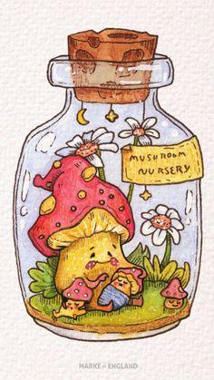 Mushroom Nursery: Step-by-step Cottagecore Watercolour Illustration