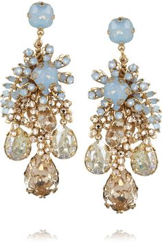 BIJOUX HEART Forget Me Not gold-plated Swarovski crystal earrings