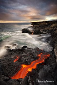 Hot Lava Hits Seawater and Forms Black Sand Beach - Hawaii