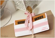 This is a great idea...crate and barrel honey spoon tea stirrers, and tea bags, wrapped up in little valentines!