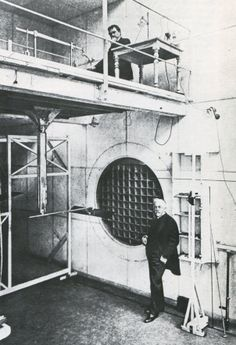 Gustave Eiffel in the experimental chamber of his aerodynamic laboratory